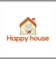 happy house logo template vector image vector image
