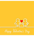 Happy Valentines Day Love card Man and Woman white vector image