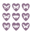 heart icons with lace butterfly silhouettes vector image vector image
