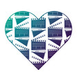 heart label with movie cinema clapperboard and vector image vector image