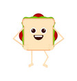 isolated happy sandwich emote vector image vector image