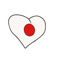 japan isolated heart flag on white background vector image vector image