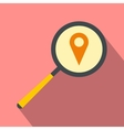 Magnifying glass with a map mark flat icon vector image vector image