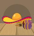 mariachi hat and maracas vector image