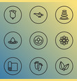 meditation icons line style set with spa stones vector image