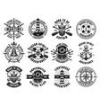 nautical thematic big set retro emblems vector image vector image