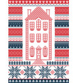nordic christmas pattern with gingerbread house vector image vector image