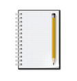 notebook with yellow pencil on white background vector image vector image