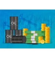 Oil cask gold coins and piles of money Business vector image vector image