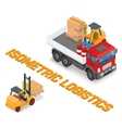 Process of loading the trucks with a forklift vector image vector image