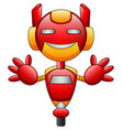 red robot cartoon character isolated on white back vector image vector image