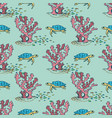 sea seamless pattern with corals and turtles vector image
