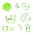 Set of watercolor organic food labels Eco product vector image vector image