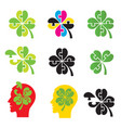 shamrock four leaf clover puzzle concept vector image vector image