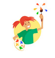 smiling kid with brush vector image vector image