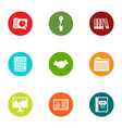 statistic icons set flat style vector image vector image
