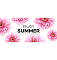summer banner with gerbera flower vector image vector image