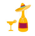 tequila bottle with sombrero decoration and glass vector image