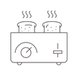 Toaster and bread on white vector image