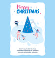 vertical flat banner marry christmas in blue frame vector image