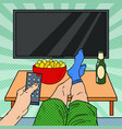 watching tv man holding remote control vector image vector image