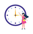 young woman with round clock time vector image vector image