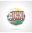 Truck on a road color detailed icon vector image