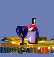 a glass with a bottle of wine on the table vector image vector image