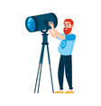 a red haired bearded caucasian man controls vector image vector image