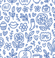 Abstract things doodle seamless pattern vector image