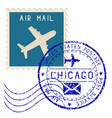 air mail stamp chicago post round impress vector image vector image