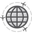 airplane icon around world vector image