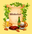 beer poster for oktoberfest german festival vector image vector image