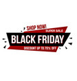 black friday super sale banner design vector image