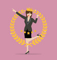 business woman with golden wreath vector image vector image