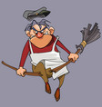 cartoon evil male janitor breaks the broom vector image
