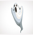 cartoon white ghost with black eyes halloween vector image vector image