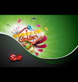 casino with poker cards and playing vector image vector image