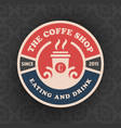 coffee shop logo template design with cup vector image vector image