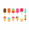 colorful different ice cream icon vector image vector image