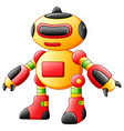 Colorful toy robot character isolated on white bac
