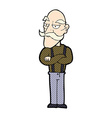 comic cartoon bored old man vector image vector image