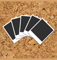 cork board with scattered photo cards vector image vector image