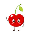 cute happy red cherry character vector image vector image