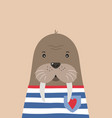 cute walrus sailor poster for baroom vector image