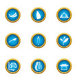 discover earth icons set flat style vector image vector image