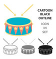 drum cartoon icon for web and mobile vector image vector image