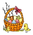 easter basket and chickens vector image vector image