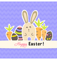 Easter purple card with carrots and rabbit vector image