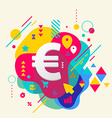 Euro sign on abstract colorful spotted background vector image vector image